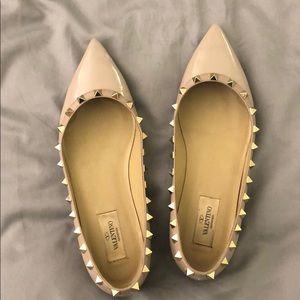 Valentino Rockstud Ballerina Flats rubber, Poudre